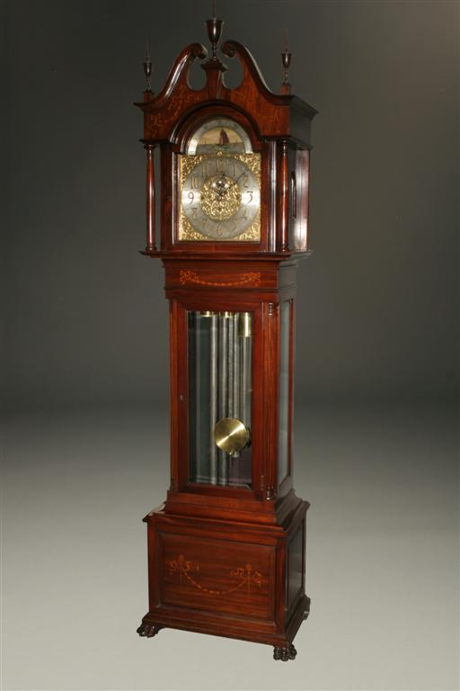 English Elliott Clock In Inlaid Mahogany Case