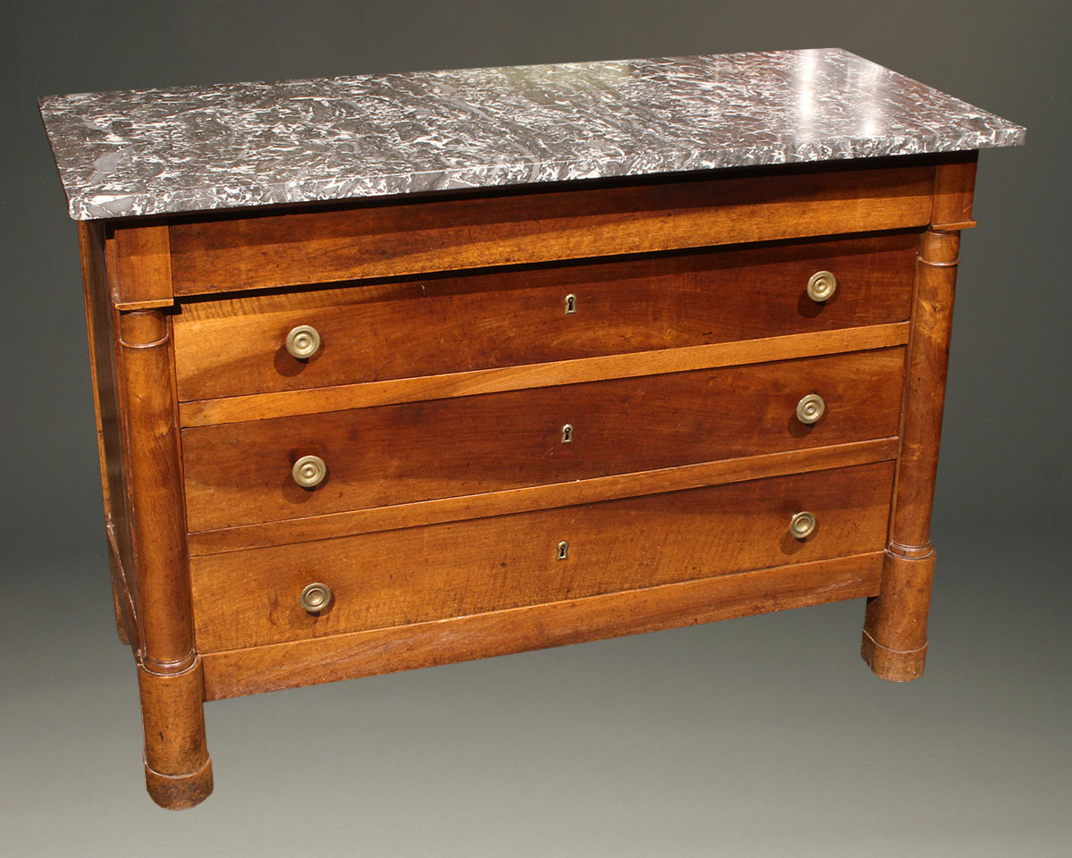 19th century antique French Empire commode with marble top  A5607A french empire commode chest of drawers antique