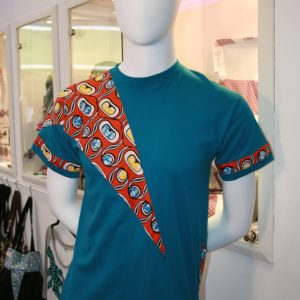 T-shirt Homme turquoise wax orange taille L