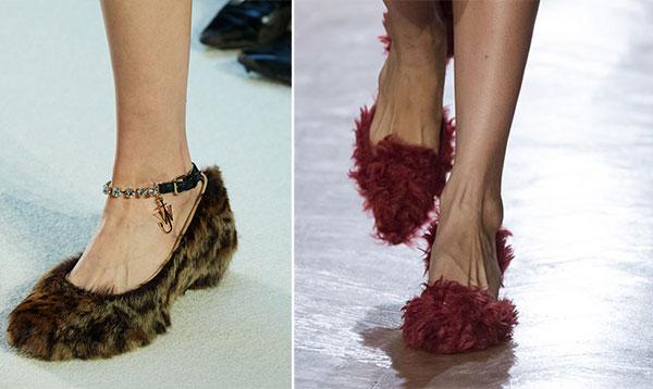 Παπούτσια με γούνα που θυμίζουν παντόφλες
