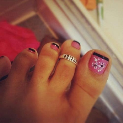 Black And Pink Flower Toe Nail Designs