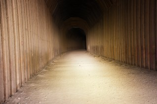 A flashlight is needed for a healthy walk through the Cartwright Tunnel
