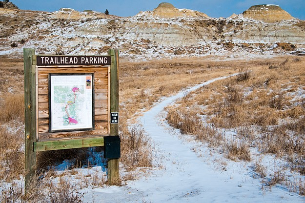 At Magpie Campground, a map and trail open the way to the Maah Daah Hey