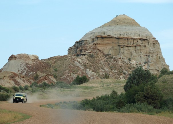 Castle Rock on Magpie Road and an emergency vehicle.