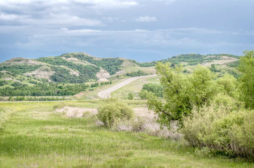 Highway 22 comes down the valley to cross the Little Missouri River.