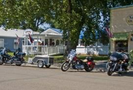 bikes parked in Medora under a shade tree
