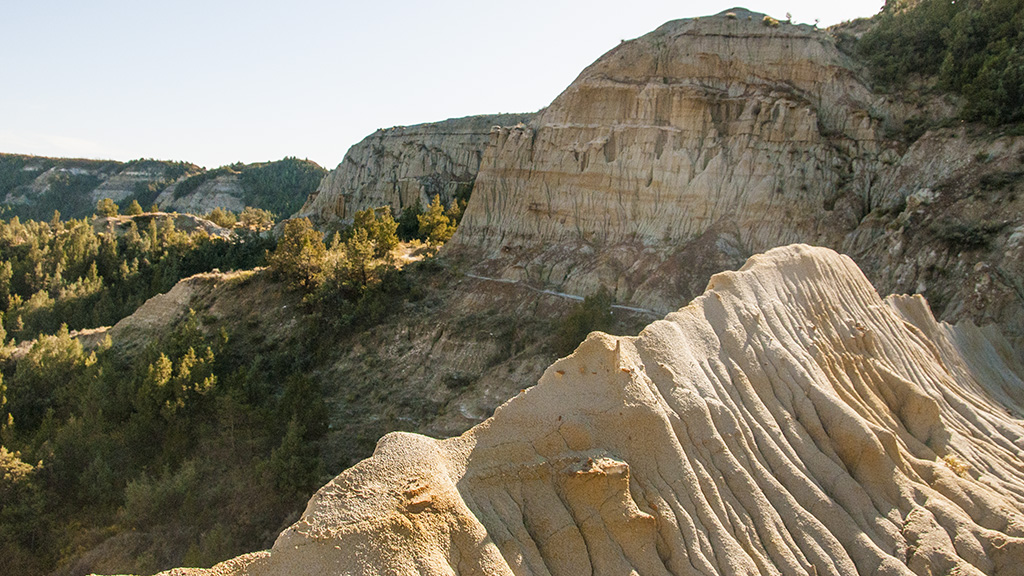 The sharp ridgeline of the China Wall North Dakota's Badlands
