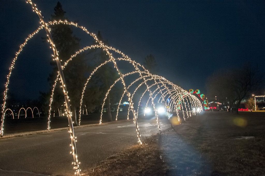 The entrance to the park is one of the tunnel of lights in Williston's Christmas Lights tour at Spring Lake Park Drive.