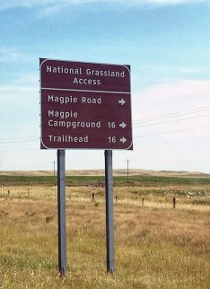 A brown recreational highway sign directs traffic to camps and trail heads.