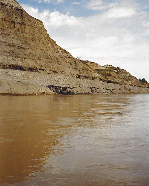 Erosion in the North Dakota Badlands is evident from the Little Missouri River.