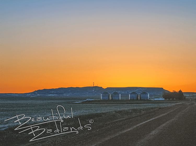 Highway 16 sentinel Butte sunrise