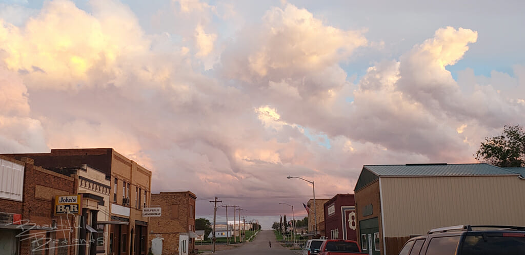 Belfield main street storm clouds