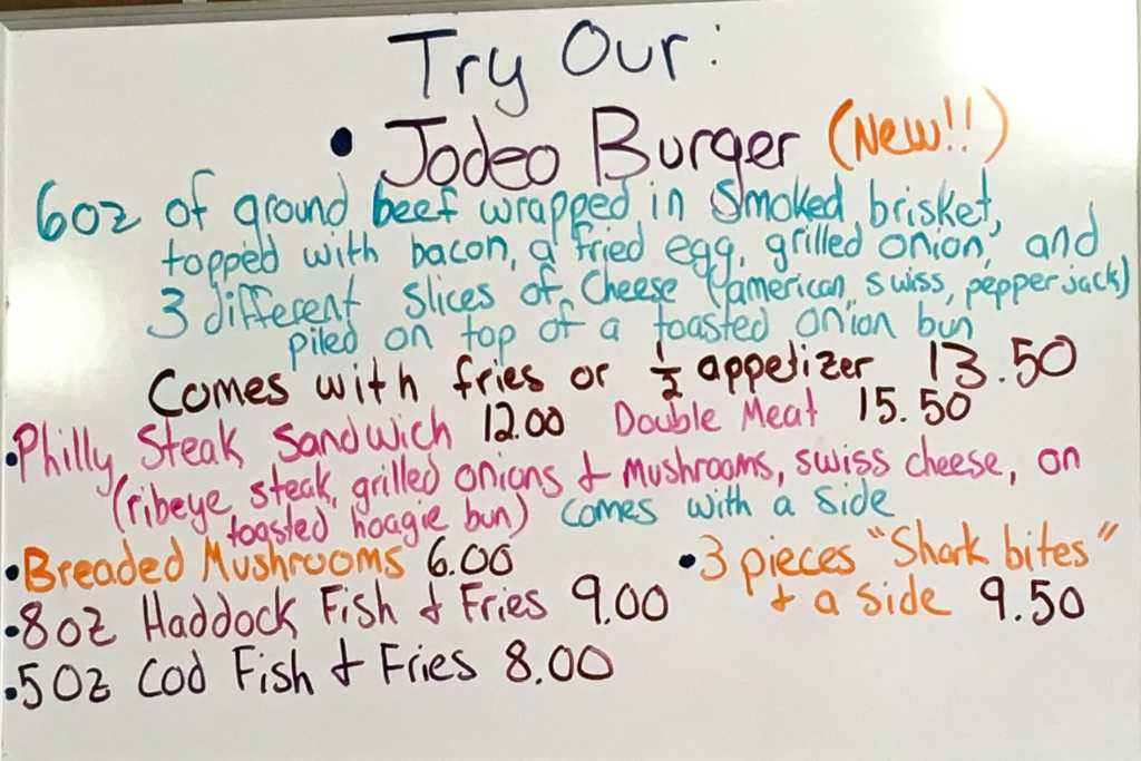 Try a Jodeo Burger if you want a real..big...hamburger!  Jodeo's Cafe.