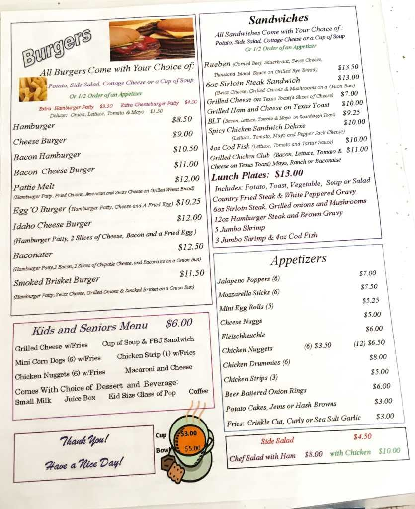 Look closely at the menu at Jodeo's Cafe in Halliday.   You'll spot some specialty items!