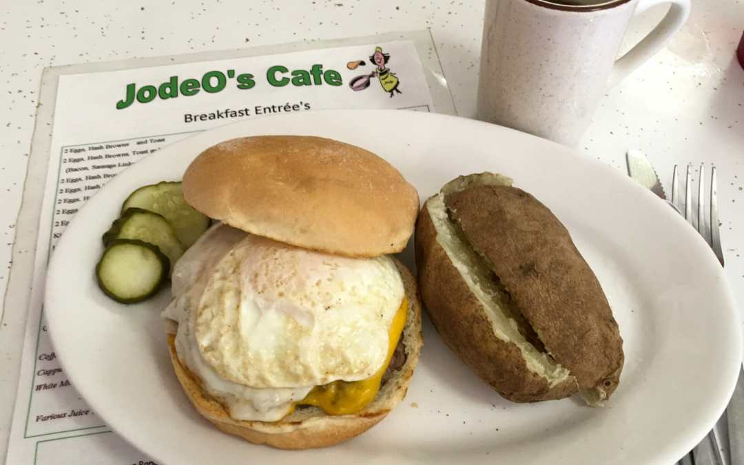 Go to Jodeo's Cafe in Halliday for