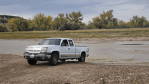 pickup truck up out of the Little Missouri River