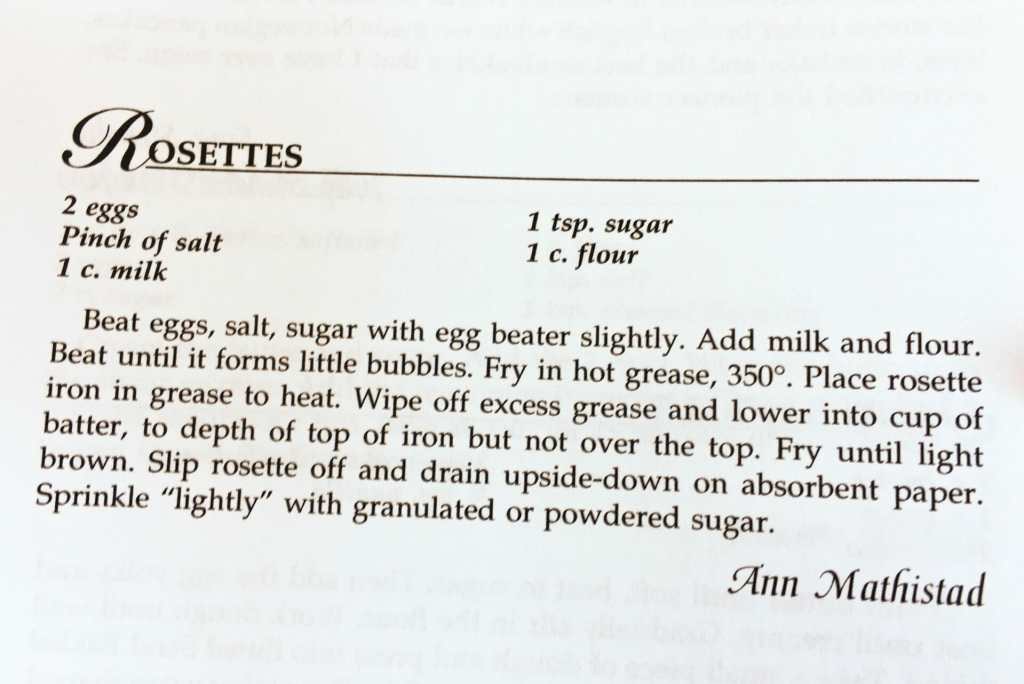 Rosettes Recipe from the Watford City Centennial Cookbook