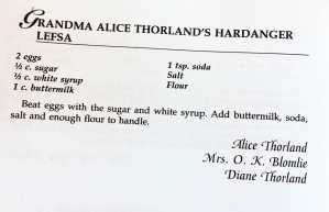 Grandma Alice's Hardanger Lefsa Recipe, Watford City Centennial Cookbook
