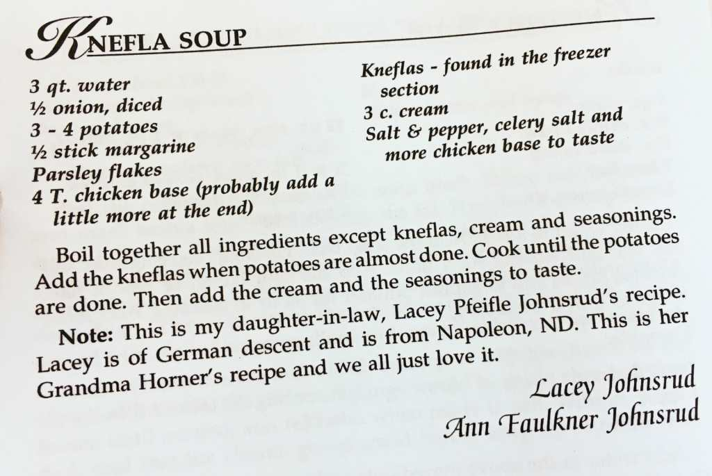 Knefla Soup Recipe, Watford City Centennial Cookbook