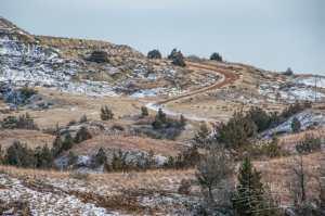 scoria road up a badlands hill