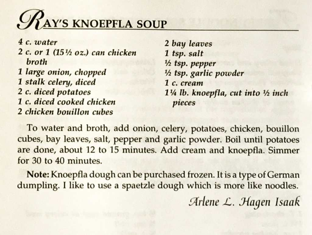 Ray's Knoepfla Soup