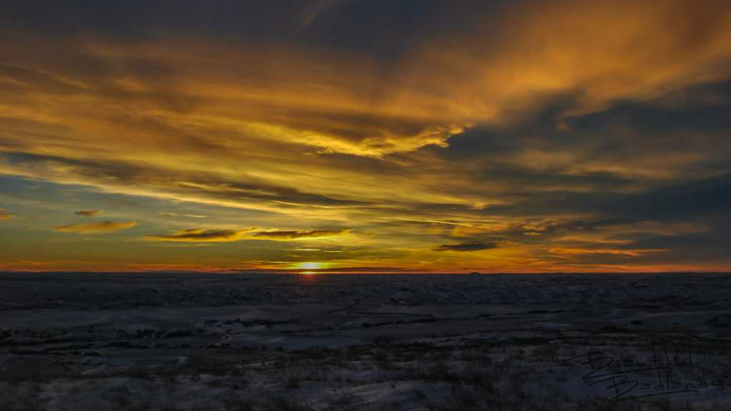 Sunset from Atop Square Butte on a Frigid Winters Day, North Dakota Badlands