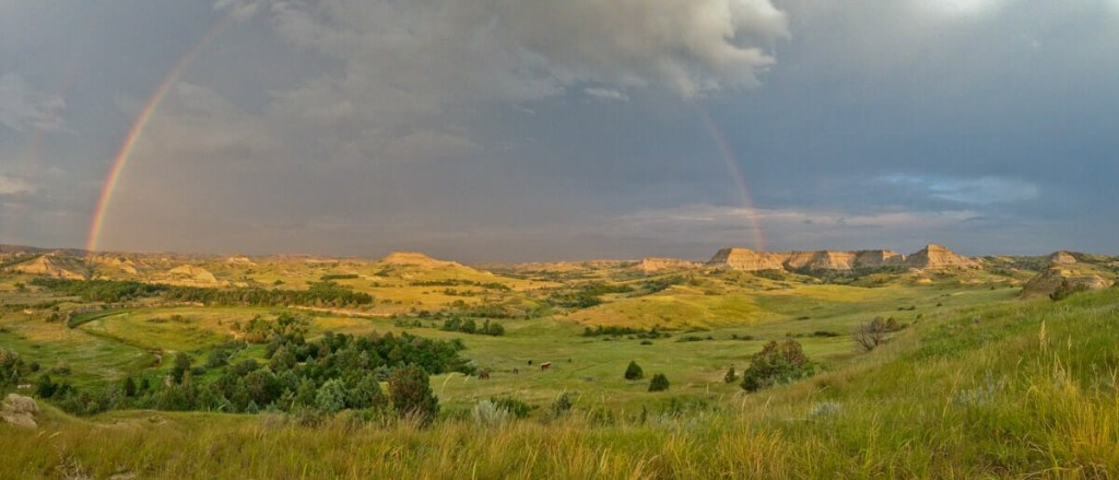 Rainbow over the Badlands