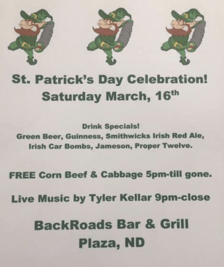 Free Corn Beef & Cabbage at the Back Roads Bar & Grill, Plaza, North Dakota