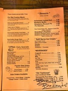 Lunch and Desserts at Cowboy Cafe, Medora, North Dakota