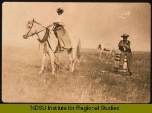 Ingeborg Isaacson hauling water in McKenzie County, North Dakota NDSU Institute for Regional Studies