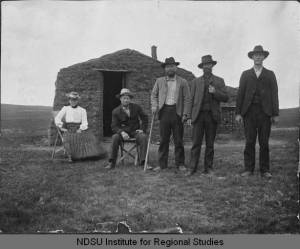 Sod house on Andrea Springan's claim by Williston, North Dakota NDSU Institute for Regional Studies