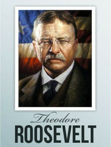 Theodore Roosevelt before American Flag