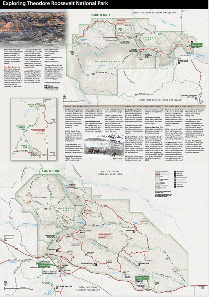 Map from brochure of Theodore Roosevelt National Park 2019