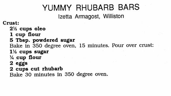 Yummy Rhubarb Bars, Women's Missionary Fellowship Cookbook