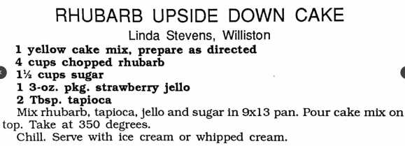 Rhubarb Upside Down Cake, Women's Missionary Fellowship Cookbook