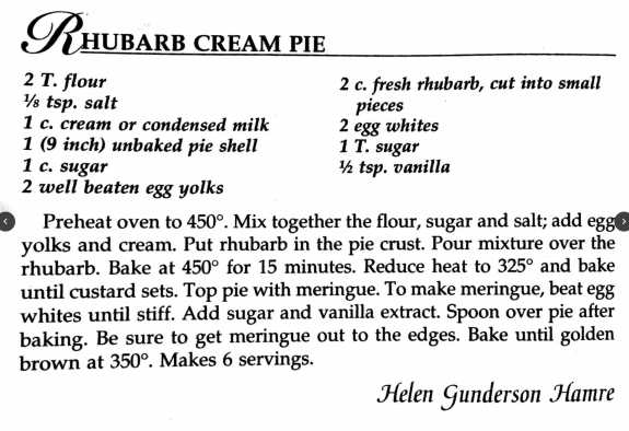 Rhubarb Cream Pie, A Taste of History Cookbook