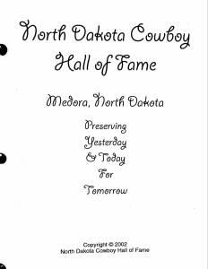 North Dakota Cowboy Hall of Fame Cookbook, Medora, North Dakota
