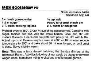 Fresh Gooseberry Pie, from the North Dakota Cowboy Hall of Fame Cookbook, Medora, North Dakota