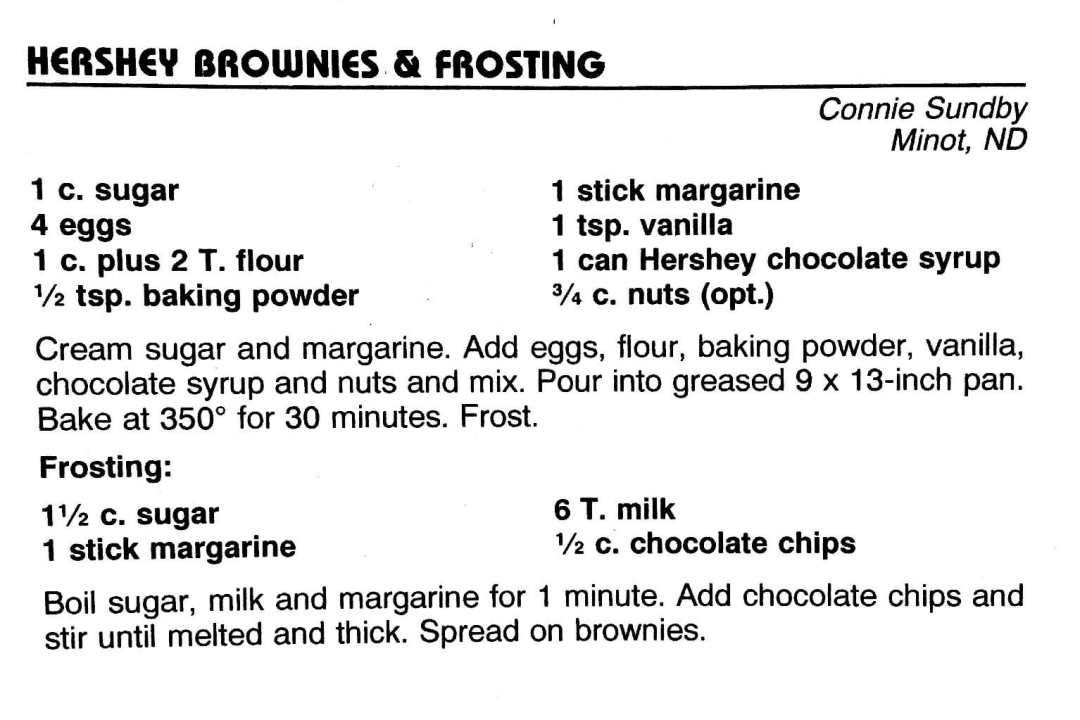 Hershey Brownies & Frosting, from the North Dakota Cowboy Hall of Fame Cookbook, Medora, North Dakota