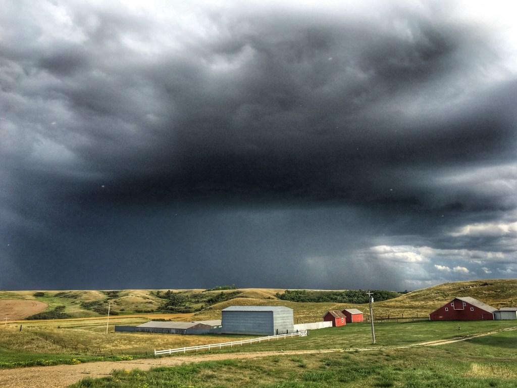 Storms over Lake Sakakawea, Highway 1804 west of Garrison, North Dakota August 25, 2019