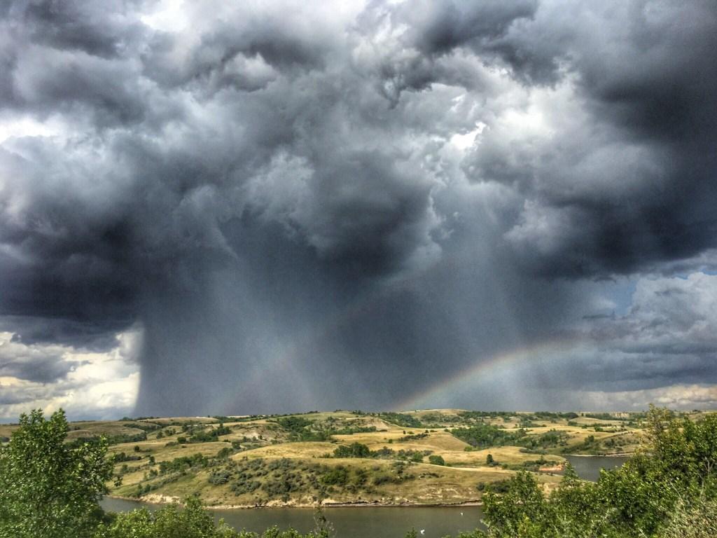 Storms and Rainbows Over Near Lake Sakakawea, as viewed from Indian Hills Resort, North Dakota August 25, 2019