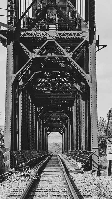 Looking into the Snowden Bridge, eastern Montana, which spans the Missouri River.