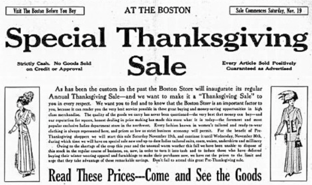 Special Thanksgiving Sale, Williston Graphic, November 1909