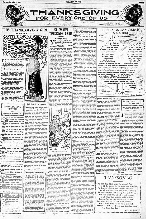 Thanksgiving for Every One of Us, Williston Graphic. November 27,1913