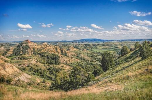 green summer landscape of the badlands