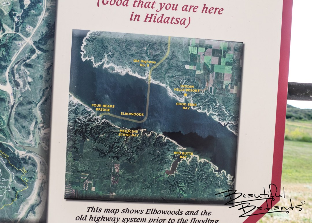 The history of Old US Highway 8, Old Four Bears Bridge, and Elbowoods, North Dakota is found on information boards at Indian Hills Recreation Area, North Dakota.
