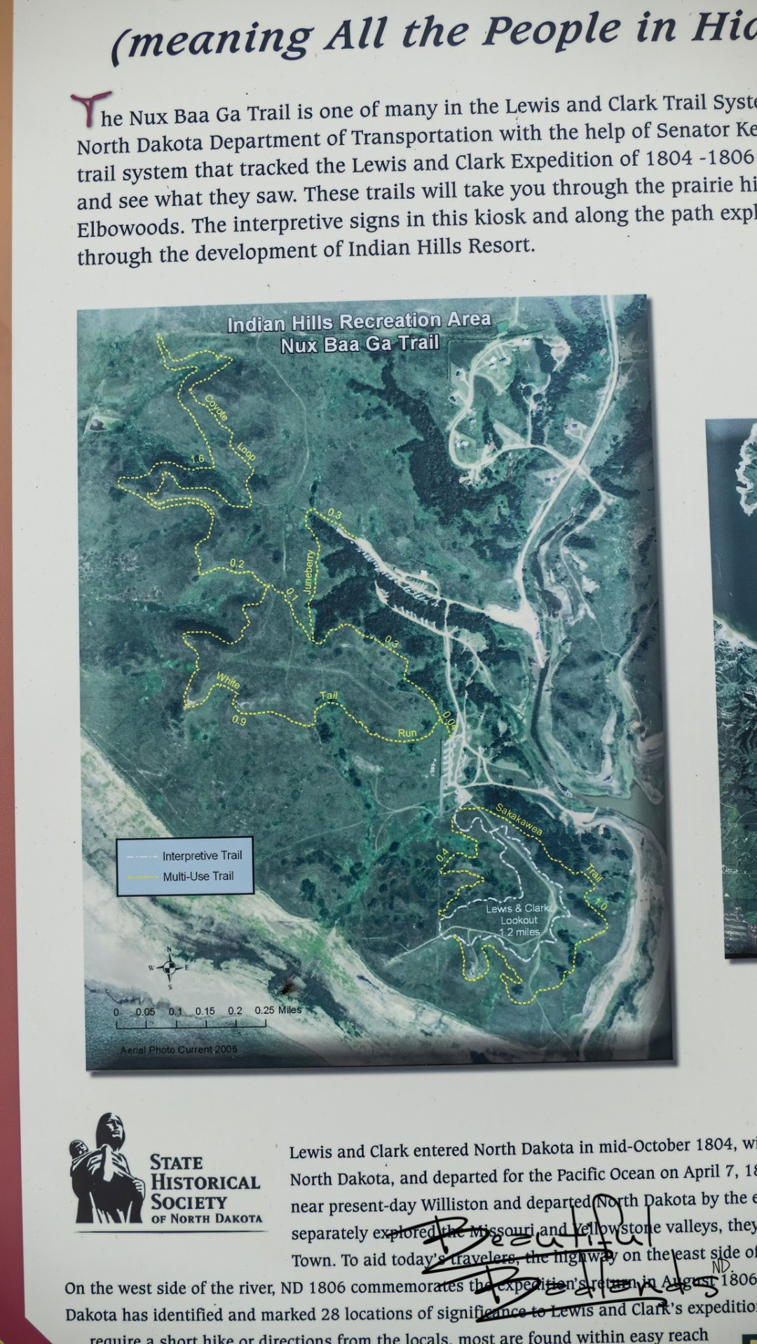 The Nux Baa Ga Trail at Indian Hills Recreation Area, on Good Bear Bay of Lake Sakakawea, North Dakota is part of the Lewis and Clark Trail System.