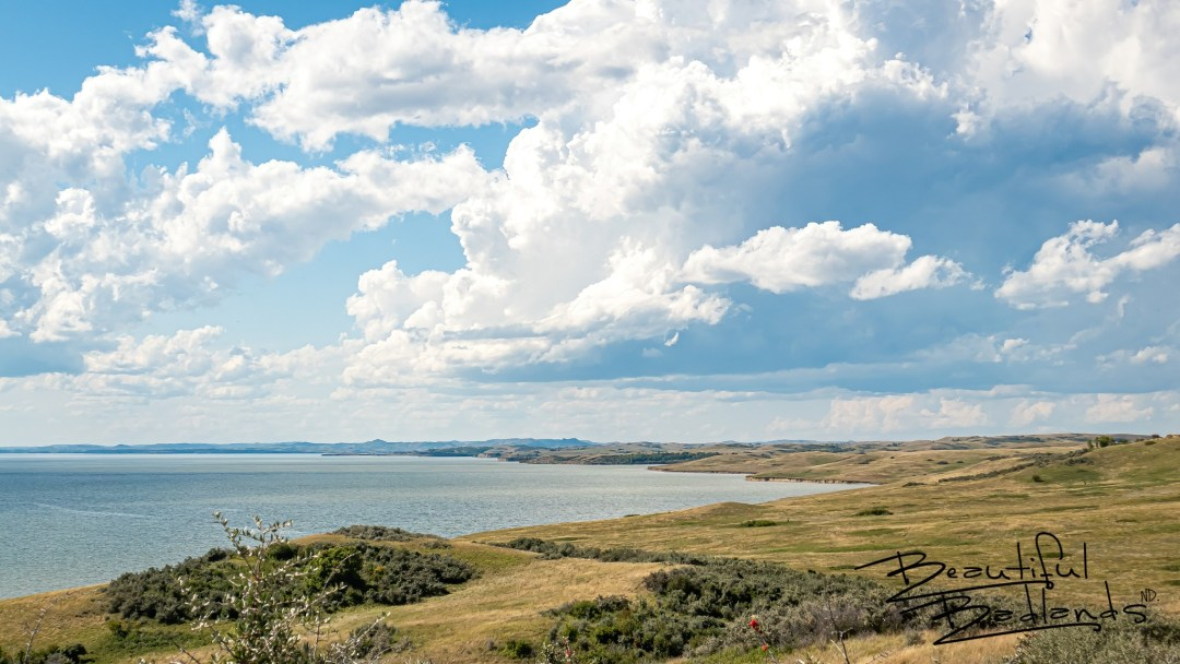 Looking west across Lake Sakakawea from a hilltop over Good Bear Bay. On the Nux Baa Ga Trail at Indian Hills Recreation Area, North Dakota.