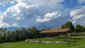 A campground and beautiful picnic area along the north shores of Lake Sakakawea provide shelter when summer storms roll through.