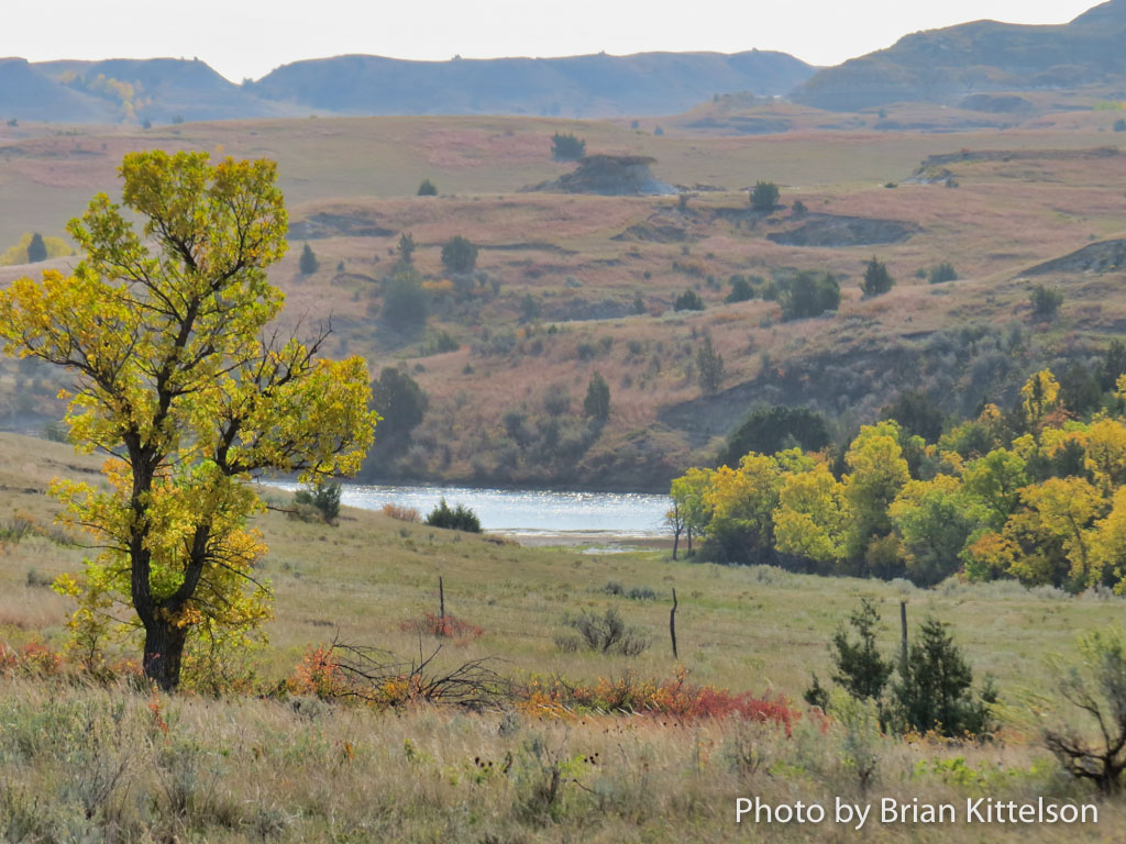 The colors of fall in the North Dakota Badlands punctuated the light smoke filtering from forest fires to the west in Montana and Idaho.